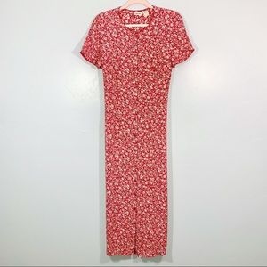 Vintage | 90's Red Cream Floral Button Front Maxi
